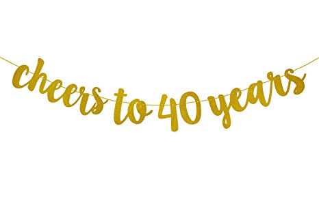 Vinyl cut clipart cheers and beers to 40 years jpg black and white download Fecedy Glittery Gold Cheers to 40 Years Banner for 40th ... jpg black and white download