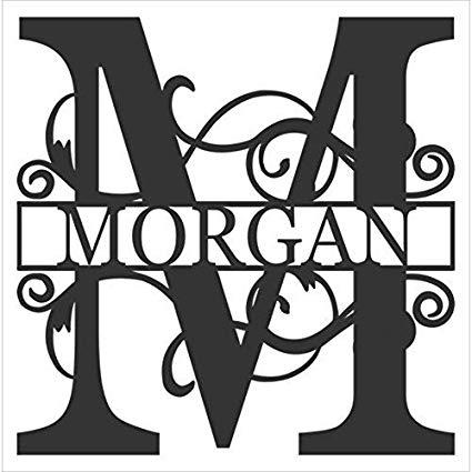 Vinyl m monogram initial clipart svg stock AJD Designs Personalized Last Name M Door Hanger - 20\