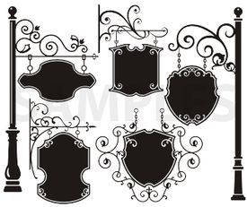 Vinyl ready vector clipart image hanging signs, vinyl-ready, ornaments, ornamental art ... image