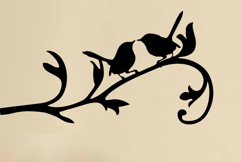 Vinyl sticker clipart svg royalty free library Love Birds On Branch Wall Decal Vinyl Art Sticker By ... svg royalty free library