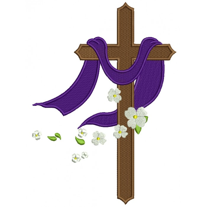 Violet daisy christian clipart banner freeuse library Cross With Daisies Religious Filled Machine Embroidery Design Digitized  Pattern banner freeuse library