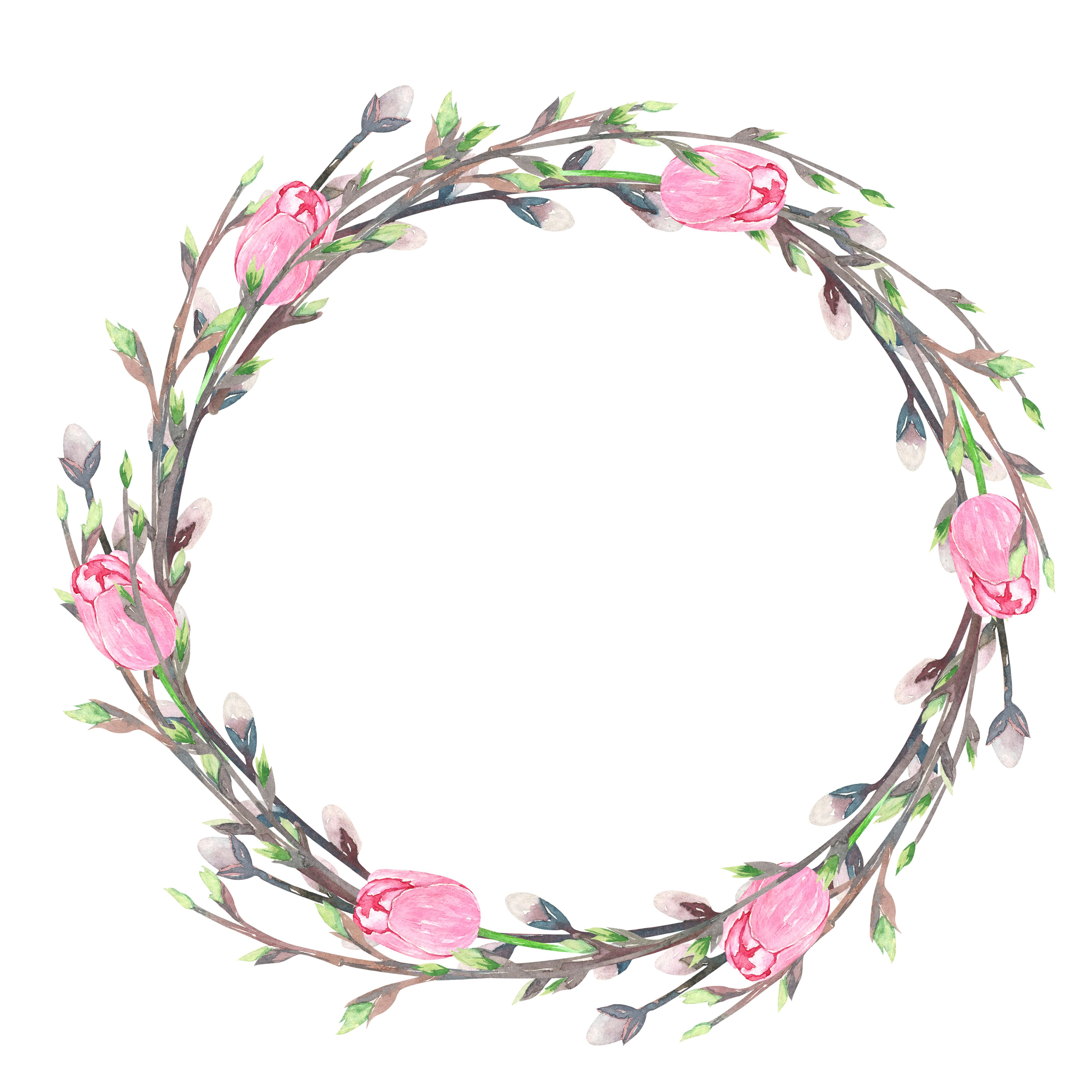 Wreath branches free clipart picture free download watercolor tulips wreath, willow, branches | My watercolor ... picture free download