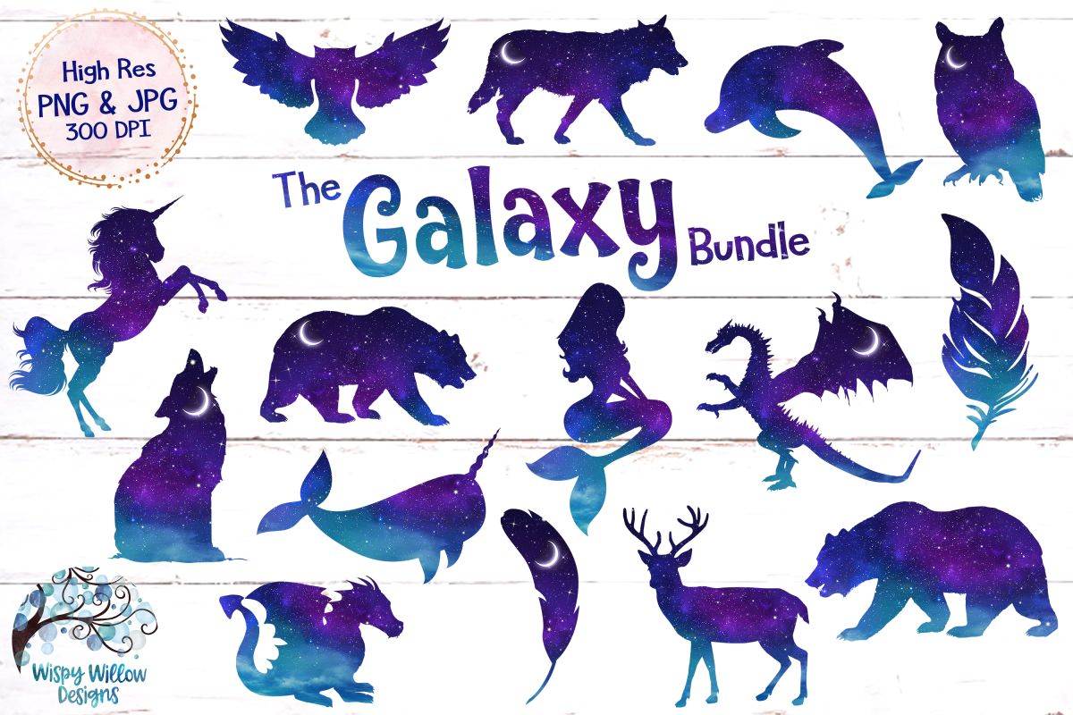 Violet willow clipart picture royalty free The Galaxy Clipart Bundle | PNG and JPG picture royalty free