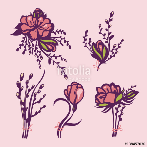 Violet willow clipart clip art Religious Easter holiday. Willow and flowers tied with ... clip art