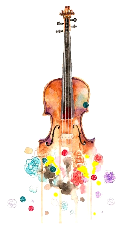 Violin with cello whimsical clipart png transparent stock The Music Point   Water color pinspiration in 2019   Violin ... png transparent stock