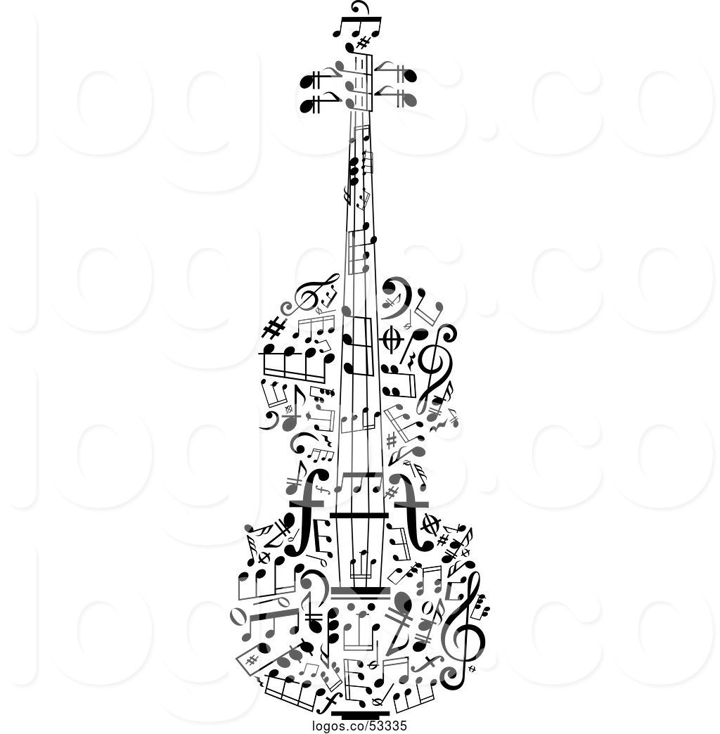 Violinn music note clipart clip free Logo of Black and White Violin Made of Music Notes by Vector ... clip free