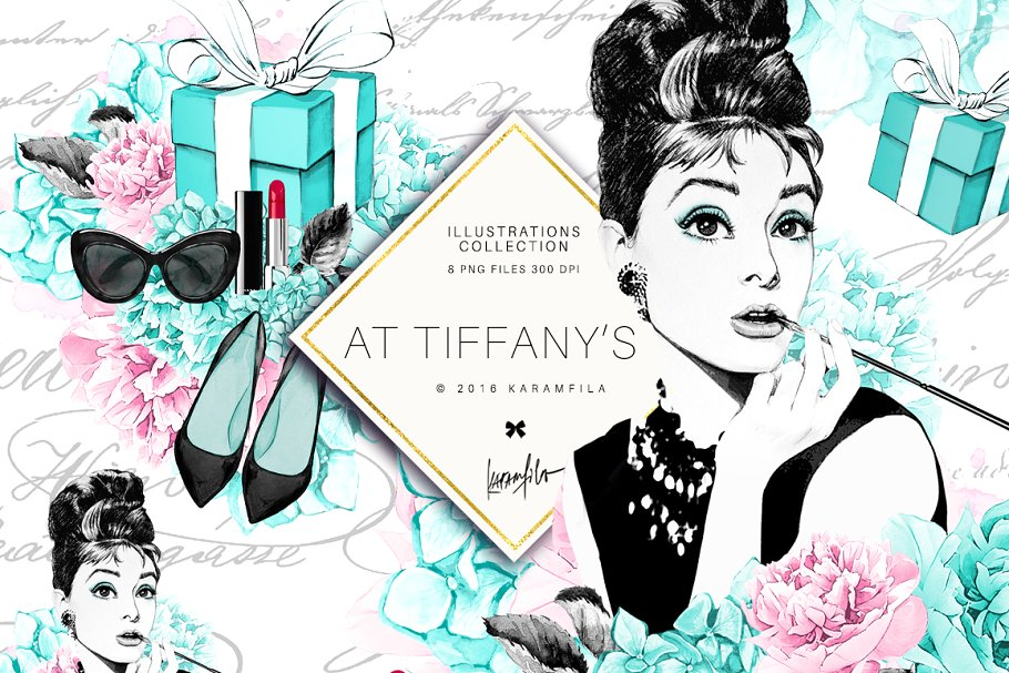 Vip breakfast clipart clip black and white library Breakfast at Tiffany\'s Clipart ~ Illustrations ~ Creative Market clip black and white library
