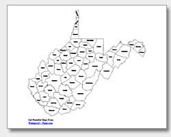Virginia county map clipart