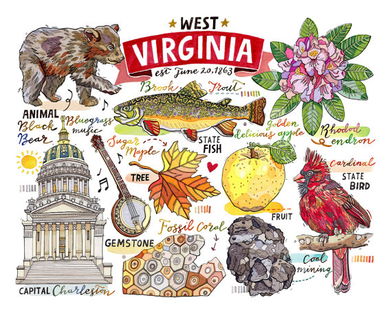 Viringina state song clipart svg library West Virginia Print State Symbols Illustration Map by ... svg library