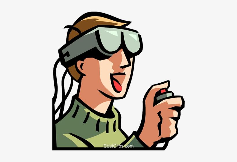 Virtual clipart svg royalty free download Boy Wearing A Virtual Reality Headset Royalty Free - Virtual ... svg royalty free download