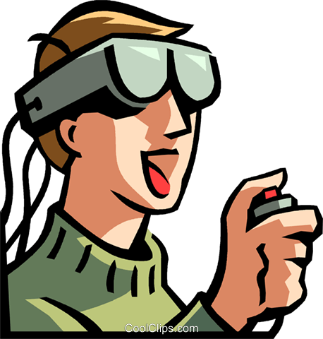 Virtual reality pictures clipart svg black and white download boy wearing a virtual reality headset Royalty Free Vector ... svg black and white download