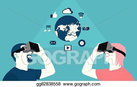 Virtual world clipart clip art transparent download Vector Stock - Long distance communication, virtual reality ... clip art transparent download