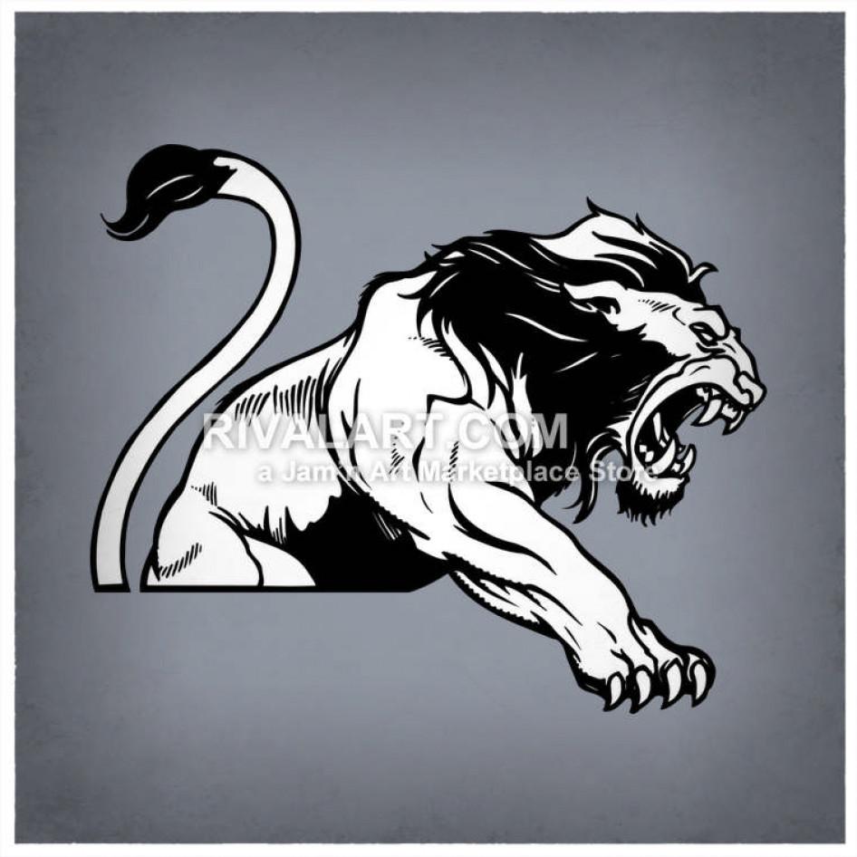Viscious jaguar clipart free stock Vicious Lion Attacking free stock