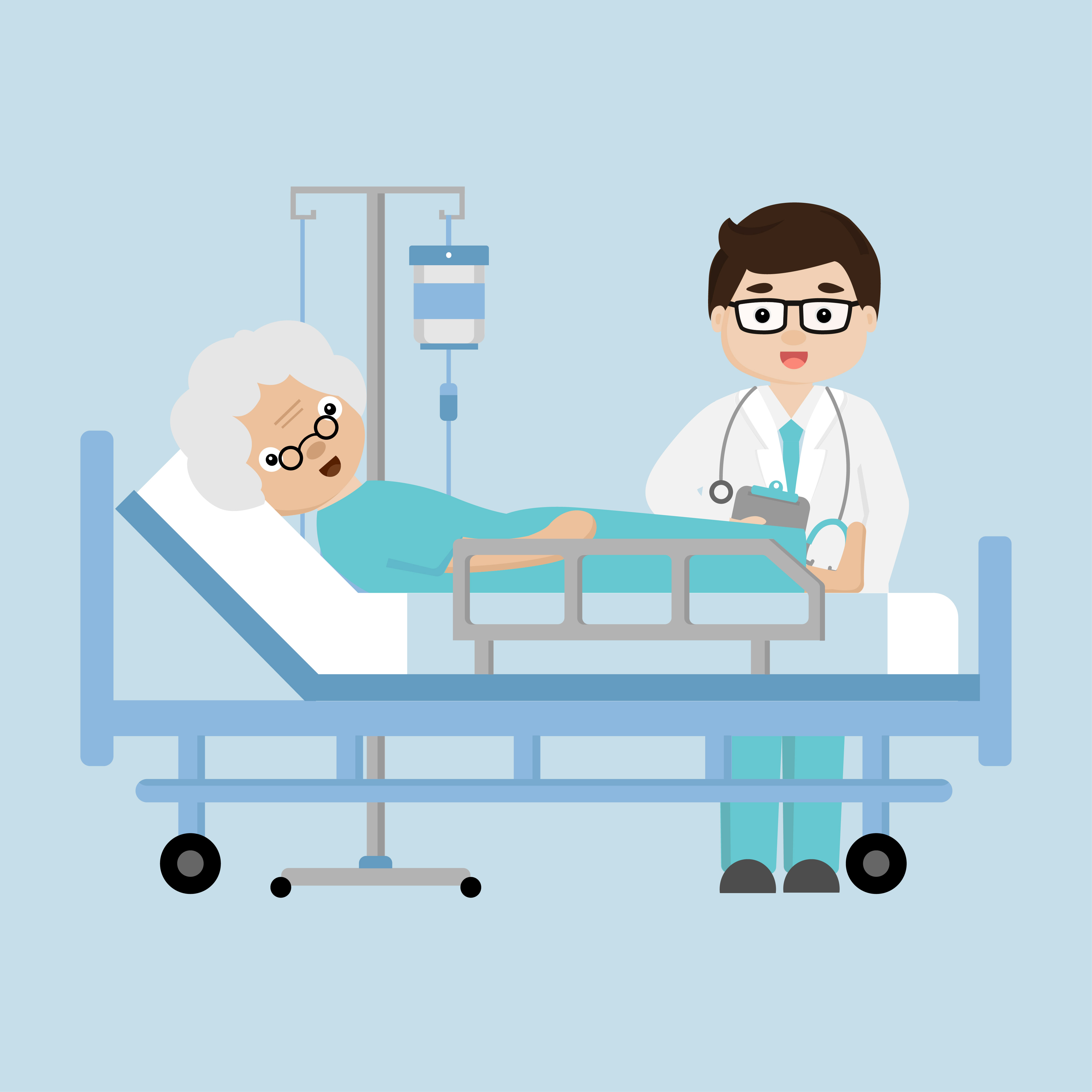 Visit the elderly clipart vector royalty free library Doctor\'s visit patient elderly woman lying in a medical bed ... vector royalty free library