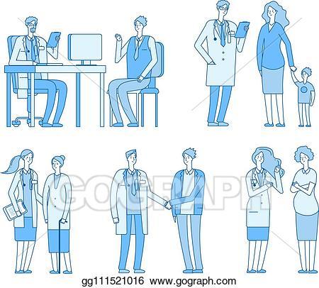 Visiting men nursing clipart vector transparent stock Vector Stock - Doctor patients. doctors nurse talking to man ... vector transparent stock