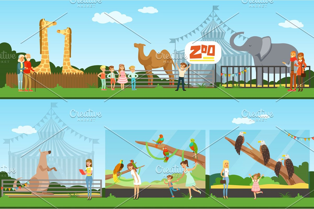 Visiting the zoo clipart banner black and white People visiting an zoo set of vector Illustrations, parents with children  watching wild animals banner black and white