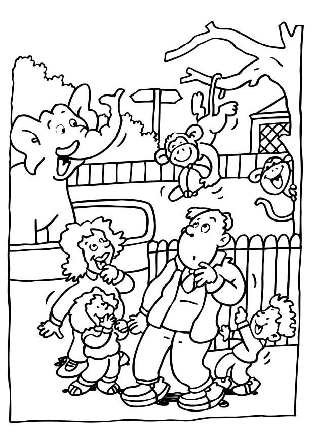 Visiting the zoo clipart picture freeuse Zoo Coloring Pages For Preschoolers | Coloring page visiting ... picture freeuse
