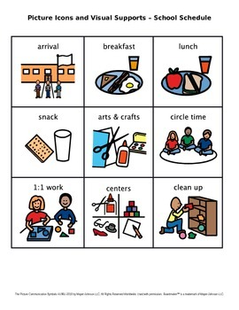 Visual school schedule clipart svg library stock Picture Icons and Visual Supports – School Schedule (Set 1) svg library stock