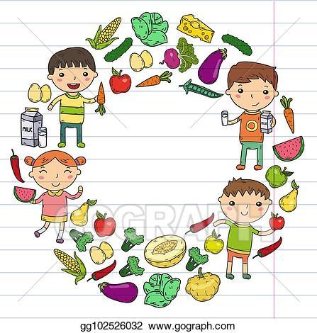 Vitamins clipart for kids vector library EPS Vector - Kindergarten nursery preschool school kids eat ... vector library