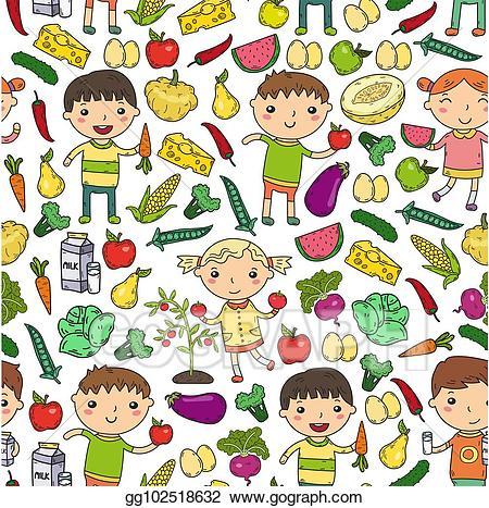 Vitamins clipart for kids stock EPS Vector - Kindergarten nursery preschool school kids eat ... stock