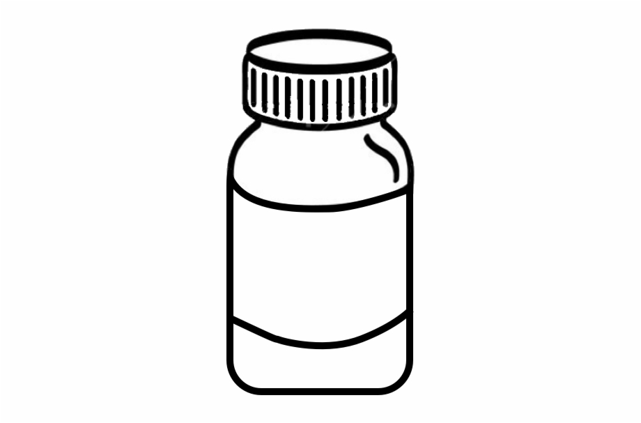 Outline of old fashioned medicine bottle clipart black and white png royalty free Pencil And In Color Pills Medicine Bottle Png - Clip Art ... png royalty free