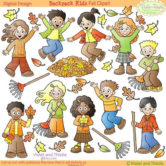 Biracial children thanksgiving clipart clipart freeuse stock Fall Kids Clipart Kids Clip Art Children raking collecting ... clipart freeuse stock