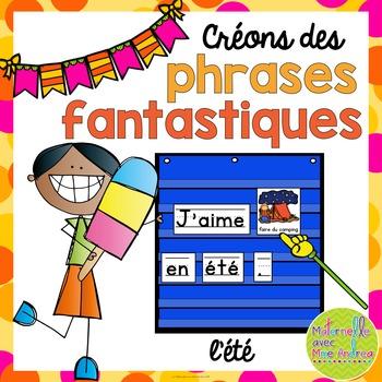 Vocabulary pocket chart clipart graphic freeuse library Phrases fantastiques - L\'été (FRENCH Summer Pocket Chart Sentences) graphic freeuse library