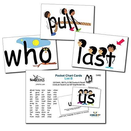 Vocabulary pocket chart clipart clip art stock Child1st Publications, LLC SnapWords List B Sight Word Pocket Chart Cards clip art stock