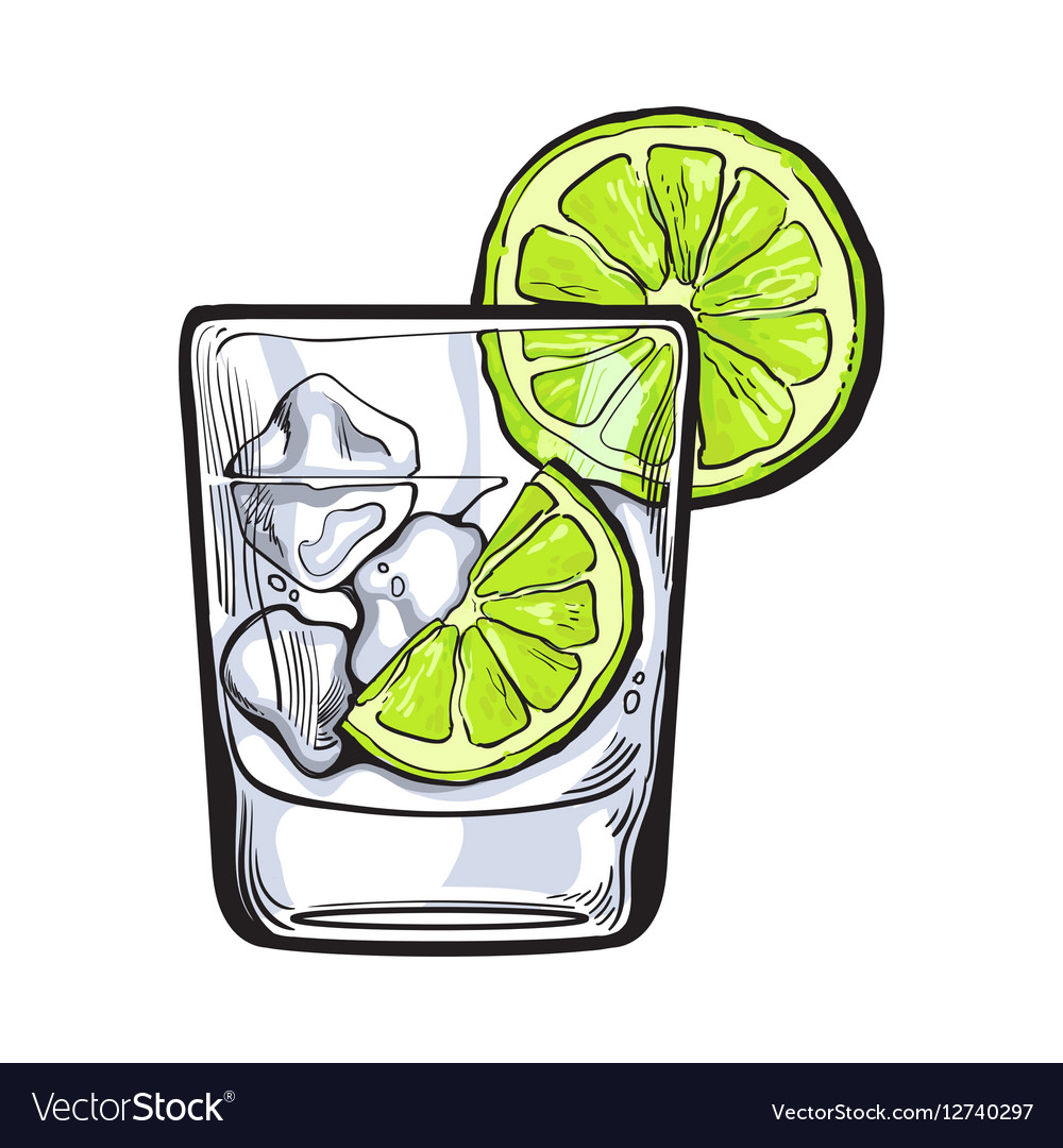 Vodka tonic clipart graphic transparent library Glass of gin vodka soda water with ice and lime graphic transparent library