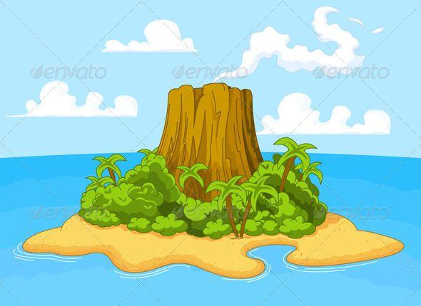 Volcano landscape clipart