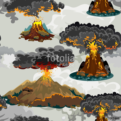 Volcanoes are very dangerous clipart clip black and white download A set of volcanoes of varying degrees of eruption, a ... clip black and white download