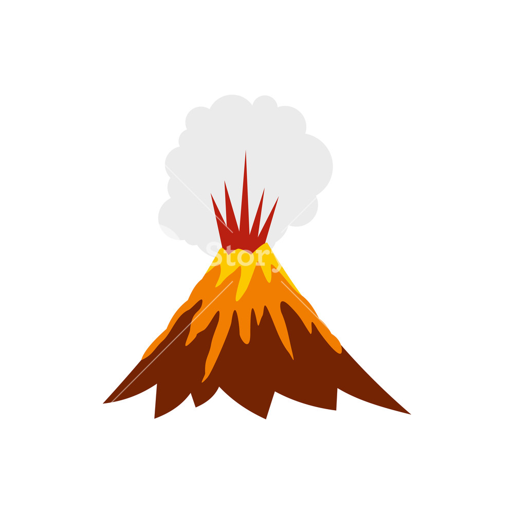 Volcanoes are very dangerous clipart picture black and white library Eruption of volcano icon in flat style isolated on white ... picture black and white library