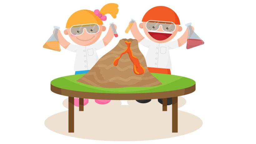 Volcanoes are very dangerous clipart graphic How to make a Homemade Volcano | STEM Little Explorers graphic