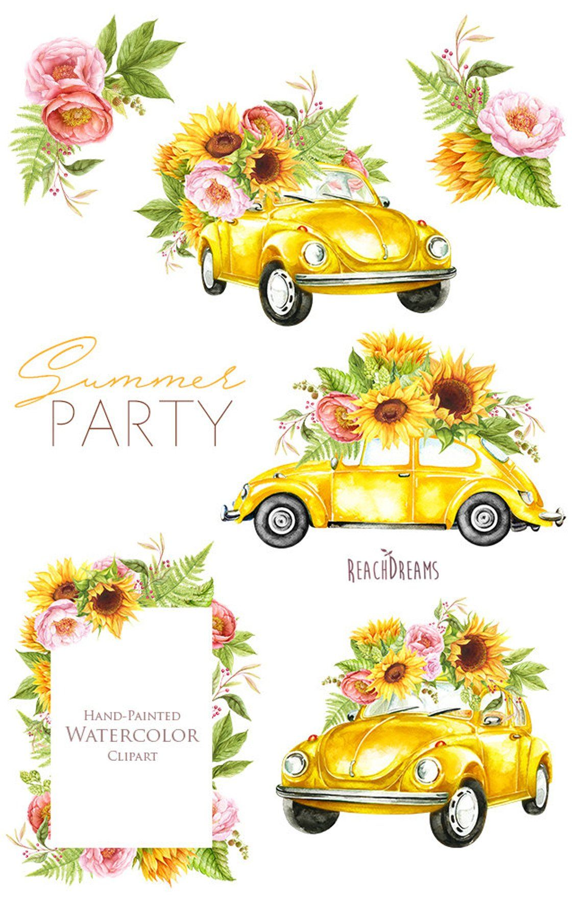Volkswagen beetle with flowers clipart picture library download Watercolor Yellow VW Beetle, summer clipart, sunflowers ... picture library download