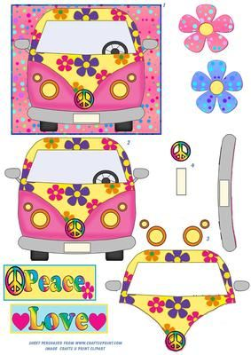 Volky clipart png freeuse Flower Power Vw Van Topper | Volky Baby Shower! | Applique ... png freeuse