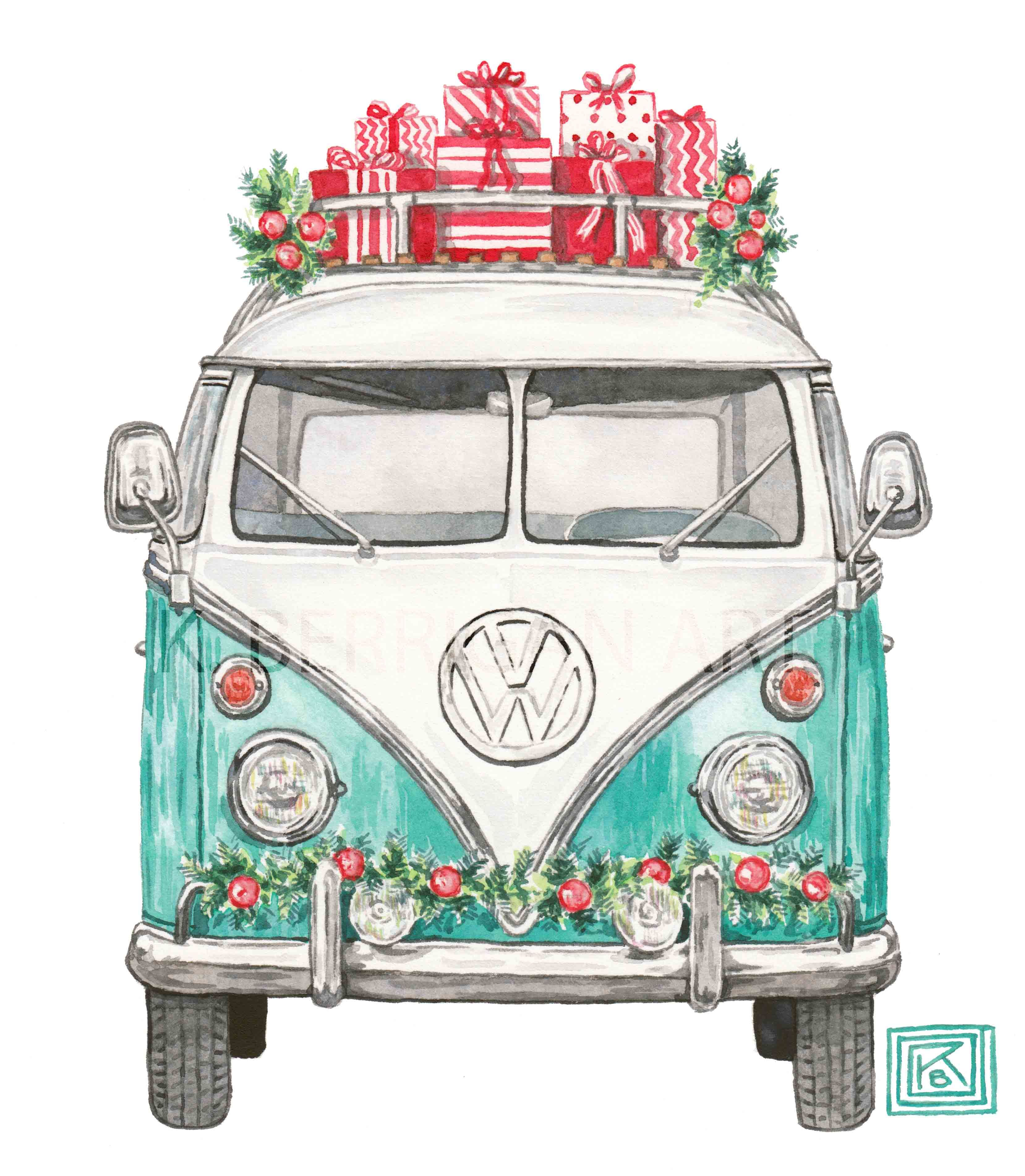 Volky clipart vector stock Christmas VW, Christmas volkswagen, greeting cards, classic ... vector stock