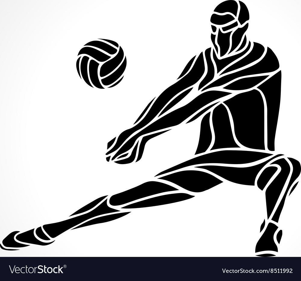 Volleyball ball vector clipart clipart freeuse stock Volleyball player receive ball silhouette clipart freeuse stock