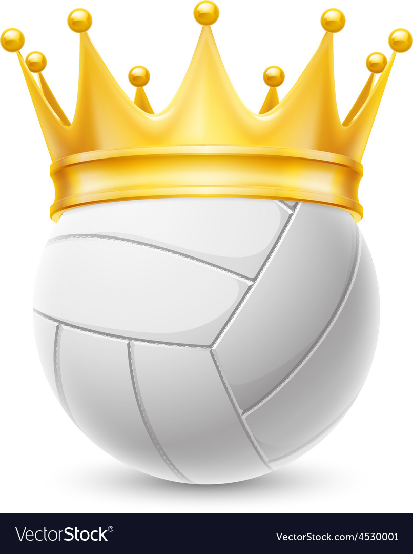 Volleyball ball vector clipart banner free Gold crown on a volleyball ball banner free