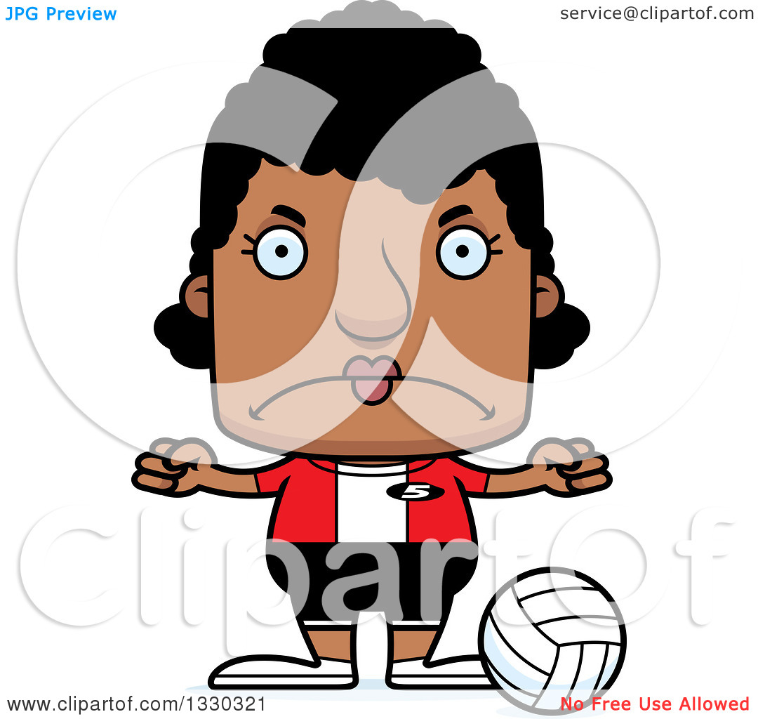 Volleyball block clipart image transparent library Clipart of a Cartoon Mad Block Headed Black Woman Volleyball ... image transparent library
