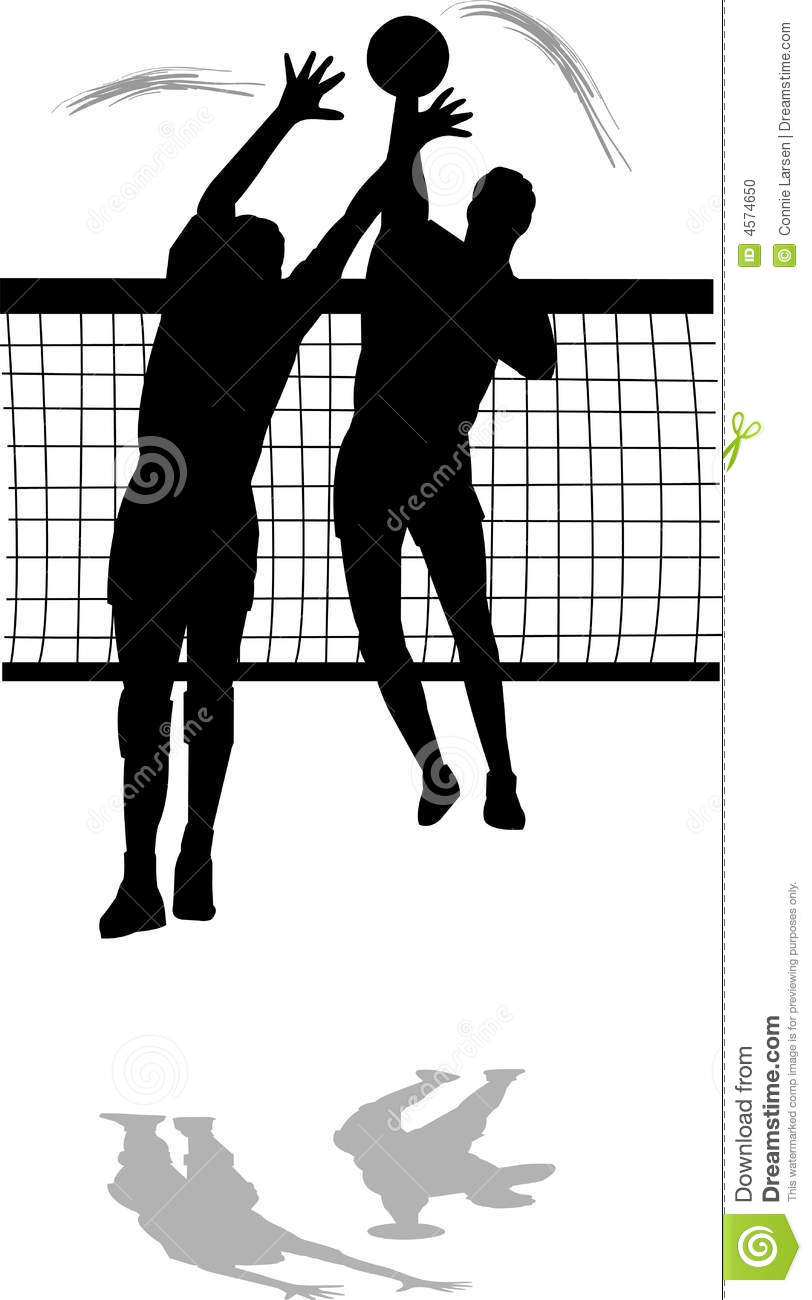 Volleyball block clipart jpg black and white stock Volleyball Spike And Block Men Stock Photo - Image: 4574650 jpg black and white stock