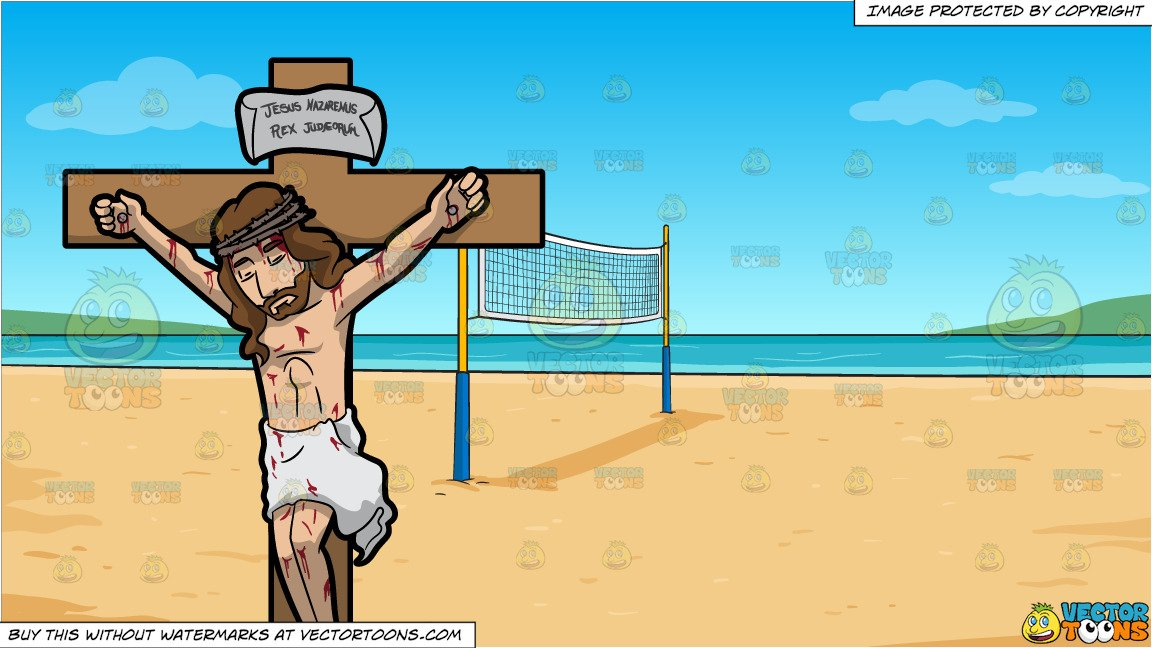Volleyball clipart with cross picture free library Jesus Christ Dying On The Cross and Beach Volleyball Background picture free library