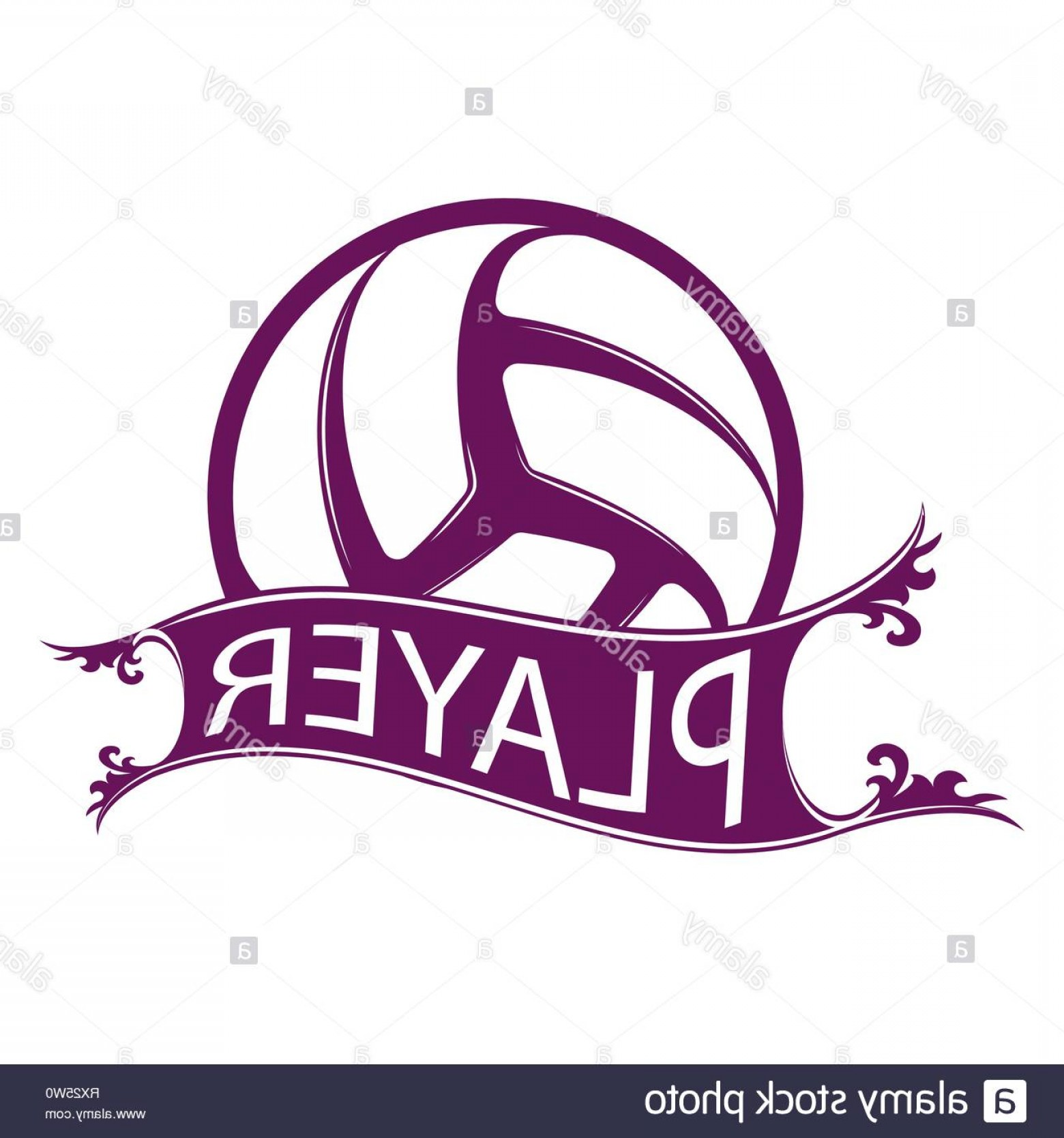 Volleyball with name clipart graphic Abstract Volleyball Symbol With Sample Ribbon And Player ... graphic