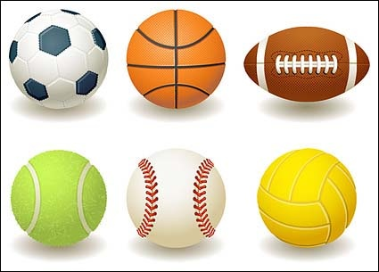 Volleyball football basketball clipart vector black and white download Football, basketball, rugby, tennis, baseball, volleyball ... vector black and white download