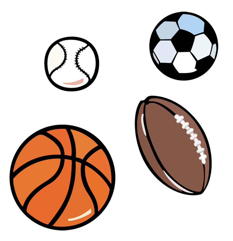 Volleyball football basketball clipart clip art download Basketball football volleyball Rugby kids Wall Stickers ... clip art download