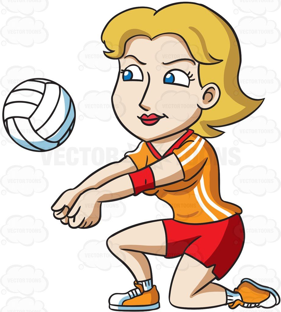 Playing volleyball clipart transparent download A female volleyball player kneeling to hit a ball #cartoon ... transparent download