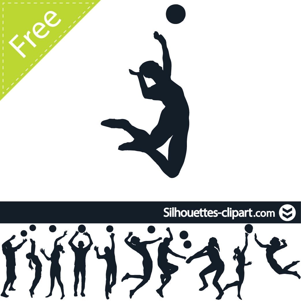 Volleyball players in action clipart