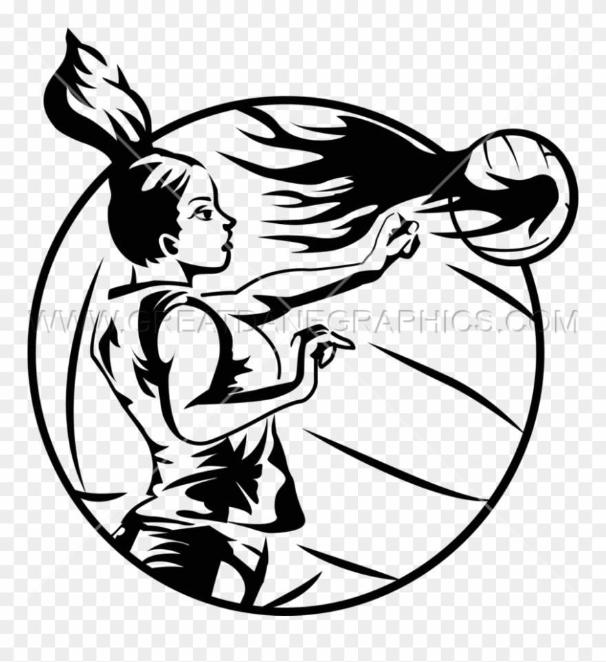 Volleyball ball clipart fire vector royalty free download Download Spiking In Volleyball Black And White Clipart ... vector royalty free download