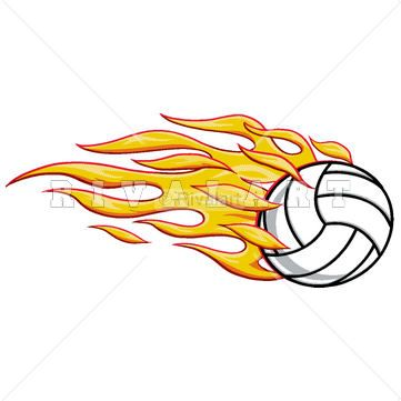 Volleyball ball clipart fire image Pin by Rivalart.com on Volleyball Clip Art   Volleyball ... image
