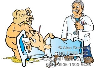 Vomiting pig clipart image royalty free library Clipart Image: Veterinarian With Swine Flu Victim - Sick Pig image royalty free library