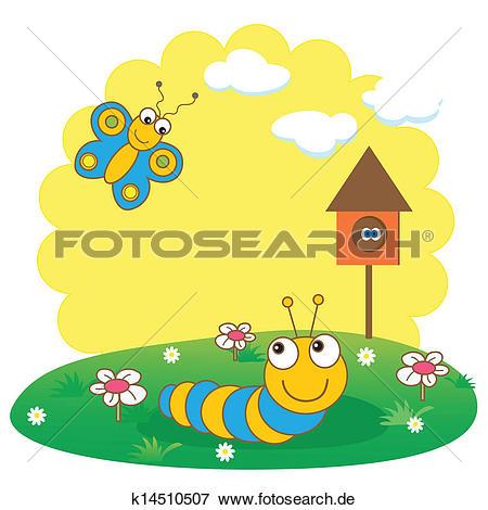 Von der raupe zum schmetterling clipart graphic download Clip Art - niedlich, frühling, karte, mit, raupe, und, butterfly ... graphic download
